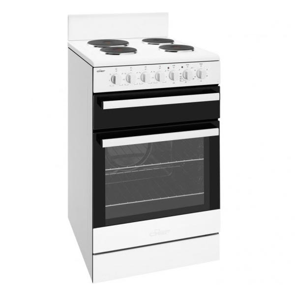 Chef Cfe535wb 540mm White Solid Plate Electric Upright Cooker