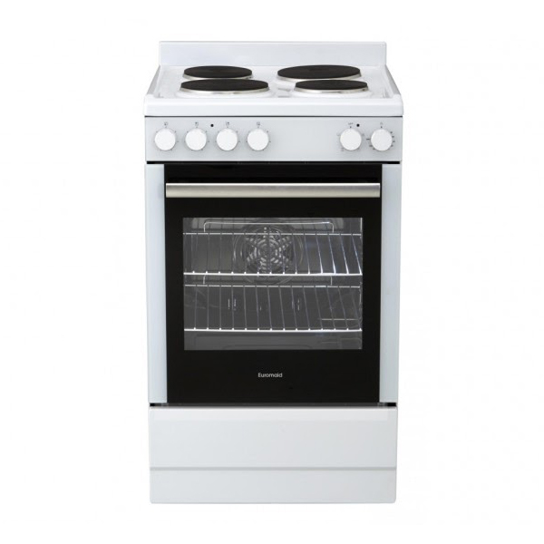Euromaid Ffs5463w 540mm White Solid Plate Electric Upright Cooker