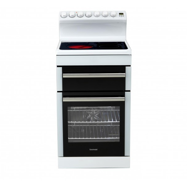 Euromaid Frc54w 540mm White Ceramic Top Electric Upright Cooker