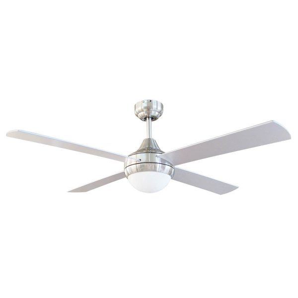 Tempo Ii 48 Ceiling Fan Brushed Chrome With Light